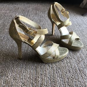 Gold sparkle high heels! Micheal Kors, size 8.5